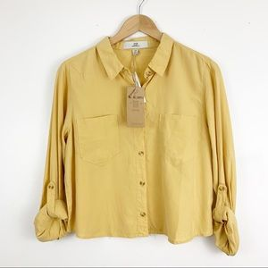 Thread & Supply Semi Cropped Button Up Shirt NWT